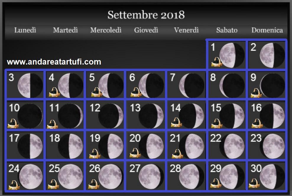 Calendario Lunare Dicembre 2017.Fasi Lunari Settembre 2018 Andare A Tartufi