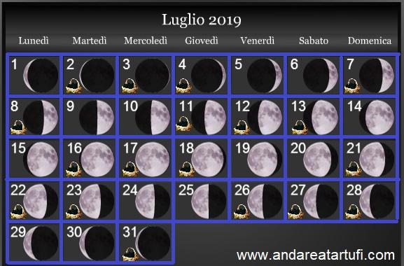 Calendario Lunare Dicembre 2017.Fasi Lunari Luglio 2019 Andare A Tartufi