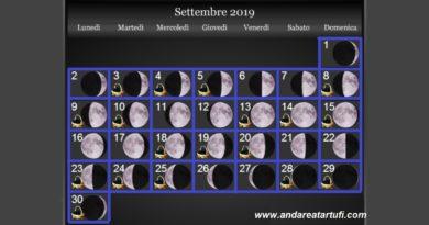 Fasi lunari Settembre 2019