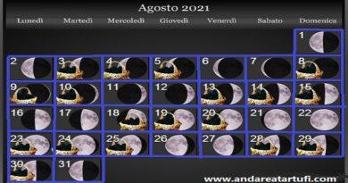 Fasi lunari Agosto 2021